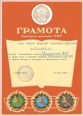 Грамота за 1 место в областных командных соревнованиях 1986 г.